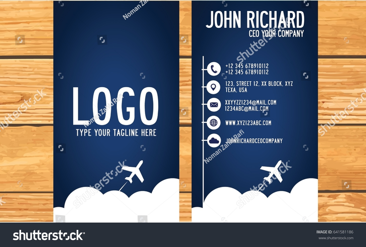Traveling Agency Business Card Dark Blue Stock Vector 641581186 ...