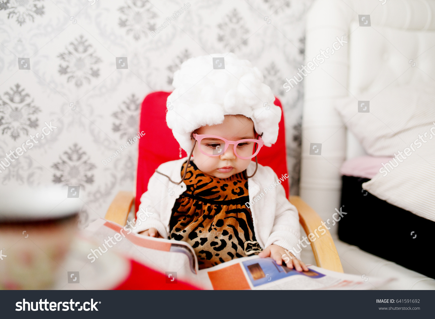 Cute baby costumed like a Cute baby costumed like a granny pretending to read newspaper  sc 1 st  Shutterstock & Cute Baby Costumed Like Cute Baby Stock Photo (Royalty Free ...