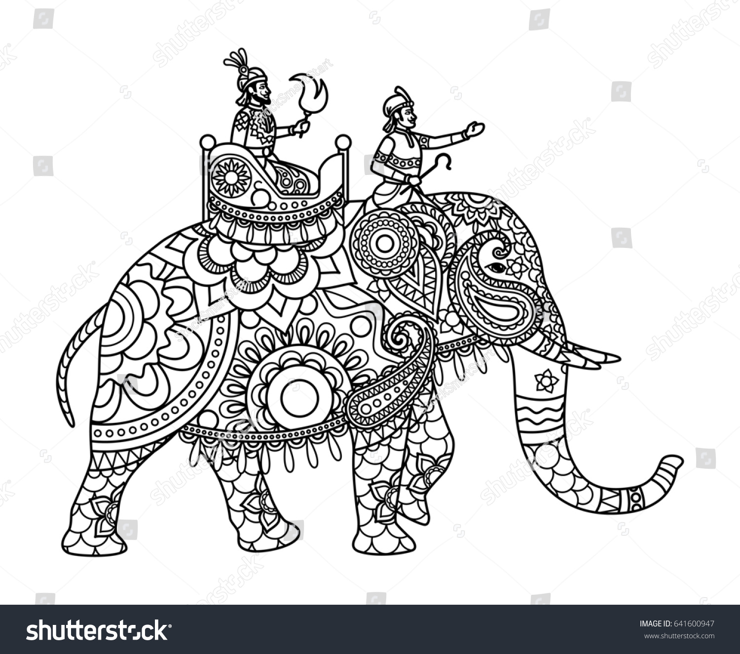 Indian Maharajah On Elephant Coloring Pages Stock Illustration ...