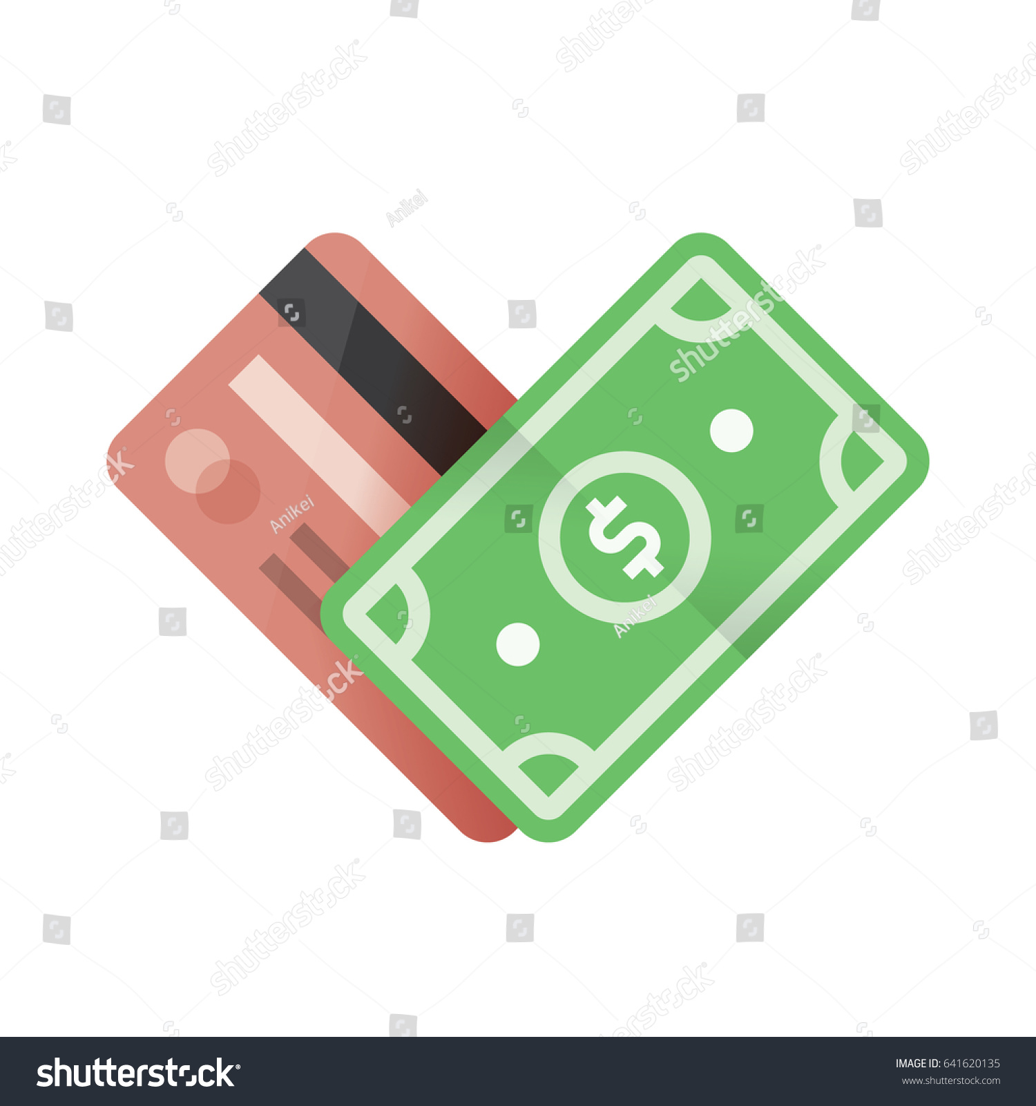credit card money currency dollar heart stock vector