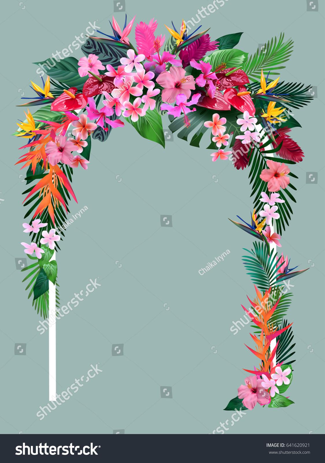 Wedding Arch Tropical Flowers Invitations Wedding Stock Vector