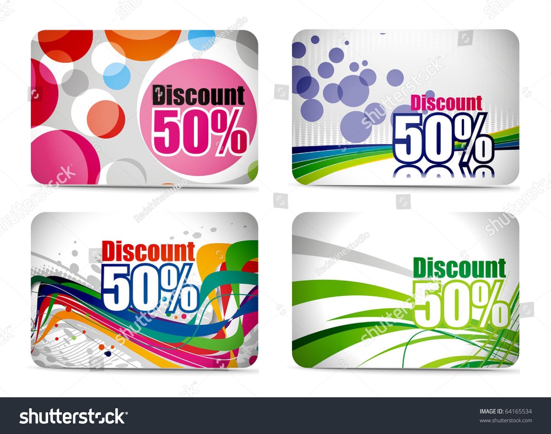 Design of discount card - Discount Card Set Design Vector Illustration