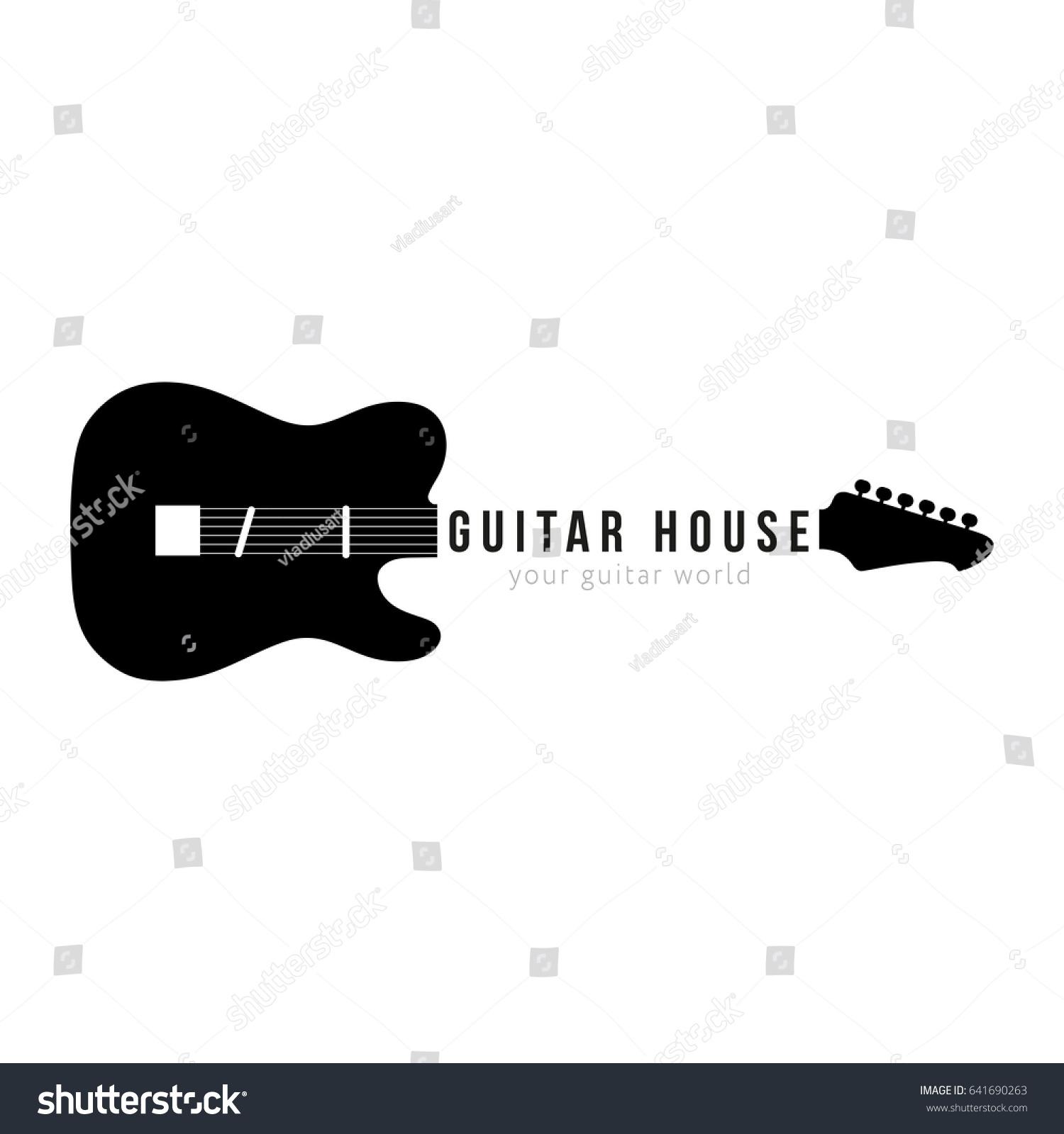 Guitar Shop Logo Shape With Sign On Neck