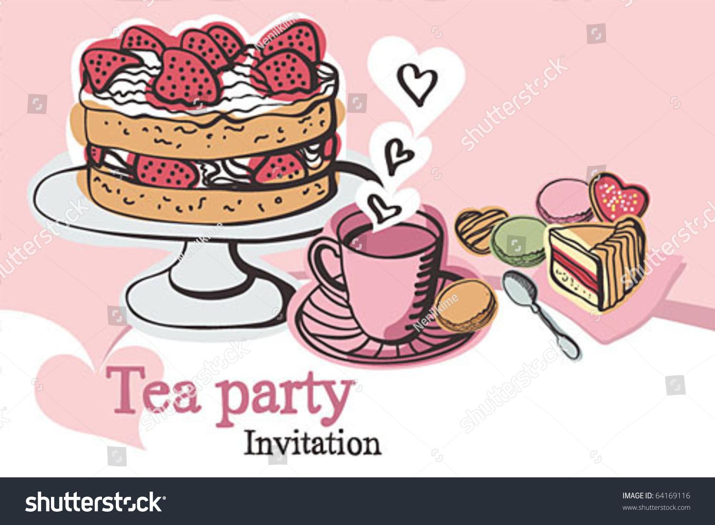 Elegant tea party invitation template with teacups cartoon vector - Tea Party Invitation