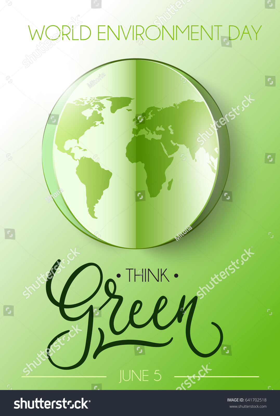 Poster design on environment - World Environment Day Poster With Modern Lettering Eco Friendly Vector Illustration With Realistic Cutout World