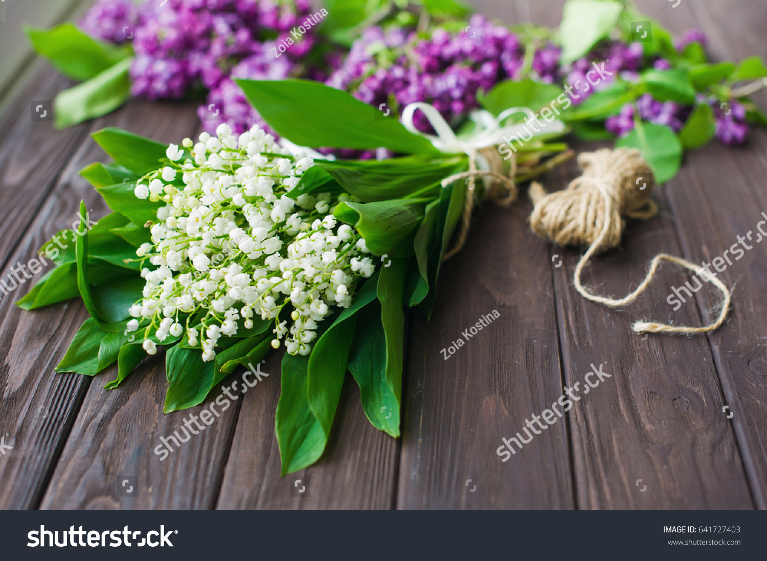Lily Of The Valley Bouquet And Bunch Of Purple Lilac Flowers On