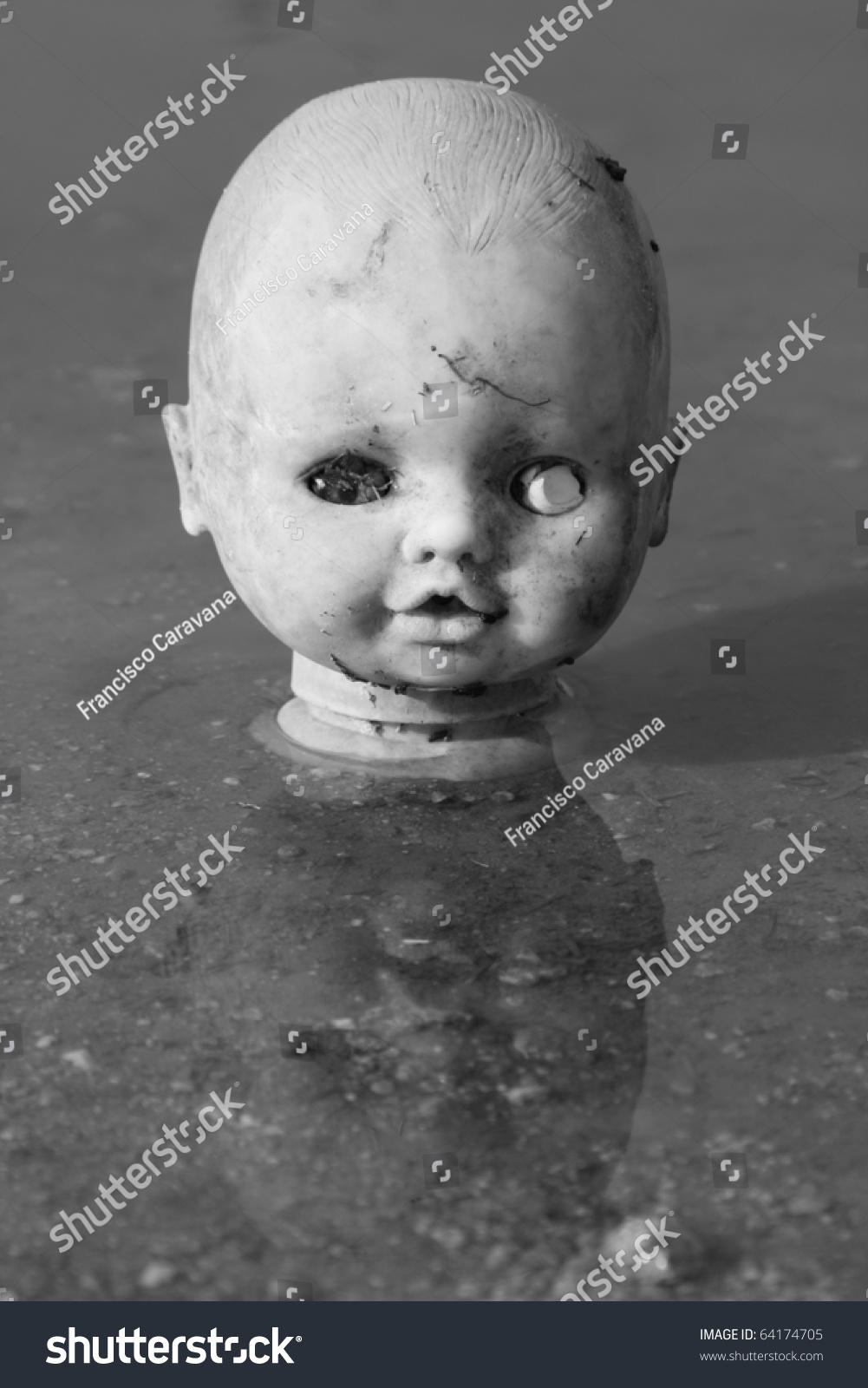Damaged Old Doll Face In Rain Shallow Water (Black And ... Old Damaged Black And White Photos
