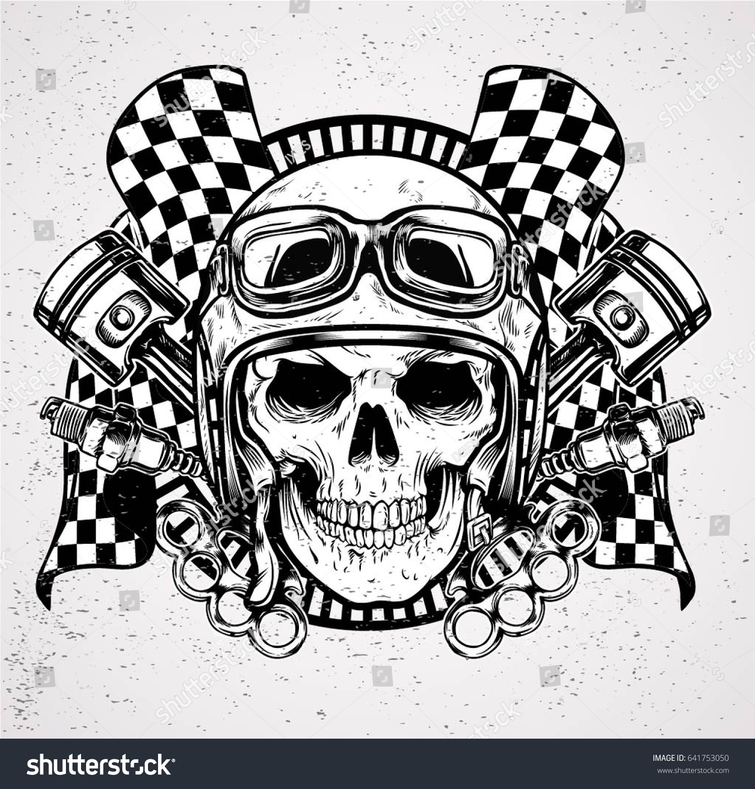 Head Skull Wearing Helmet Cafe Racer Stock Vector (Royalty Free ... 9951acfe1cf1