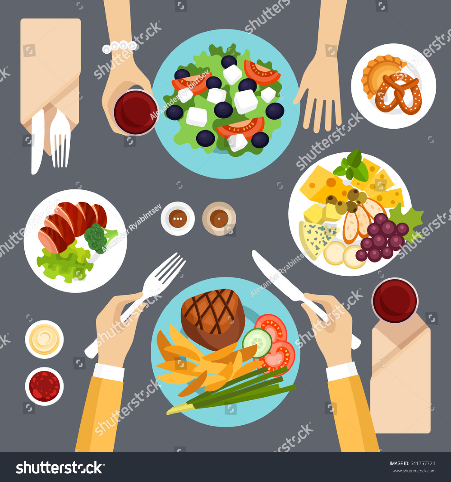 Dinner table top view - Dinner Table Top View Vector Illustration