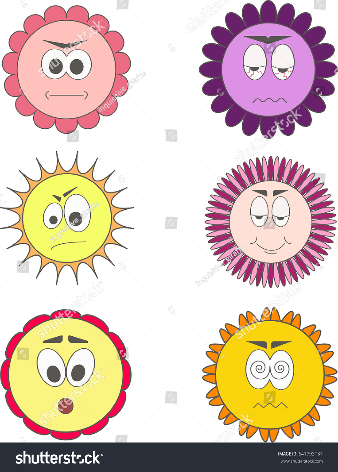 set funny colorful flowers isolated on stock illustration