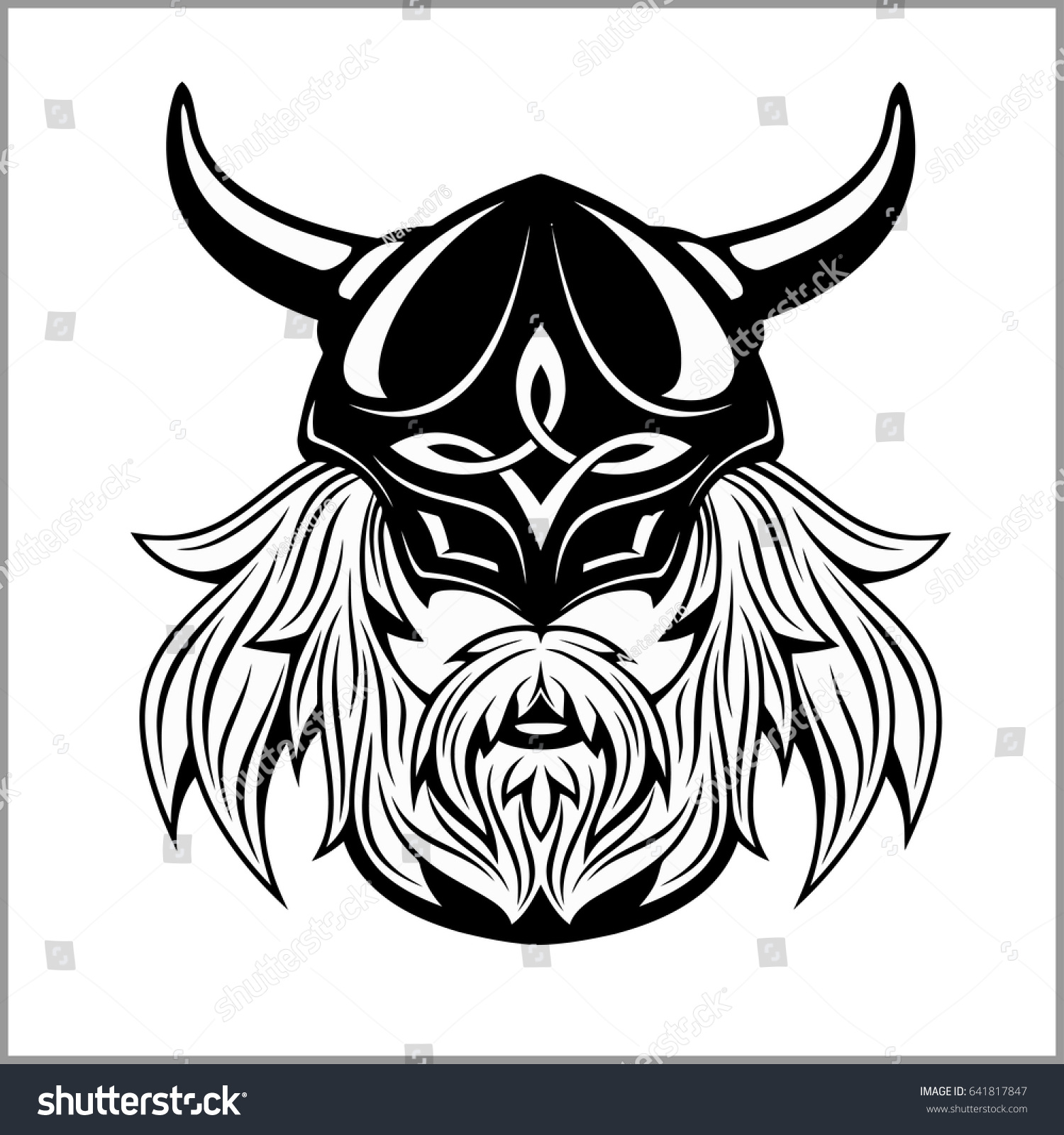 An Image Of The Face Of A Cartoon Viking Warrior Male With Helmet