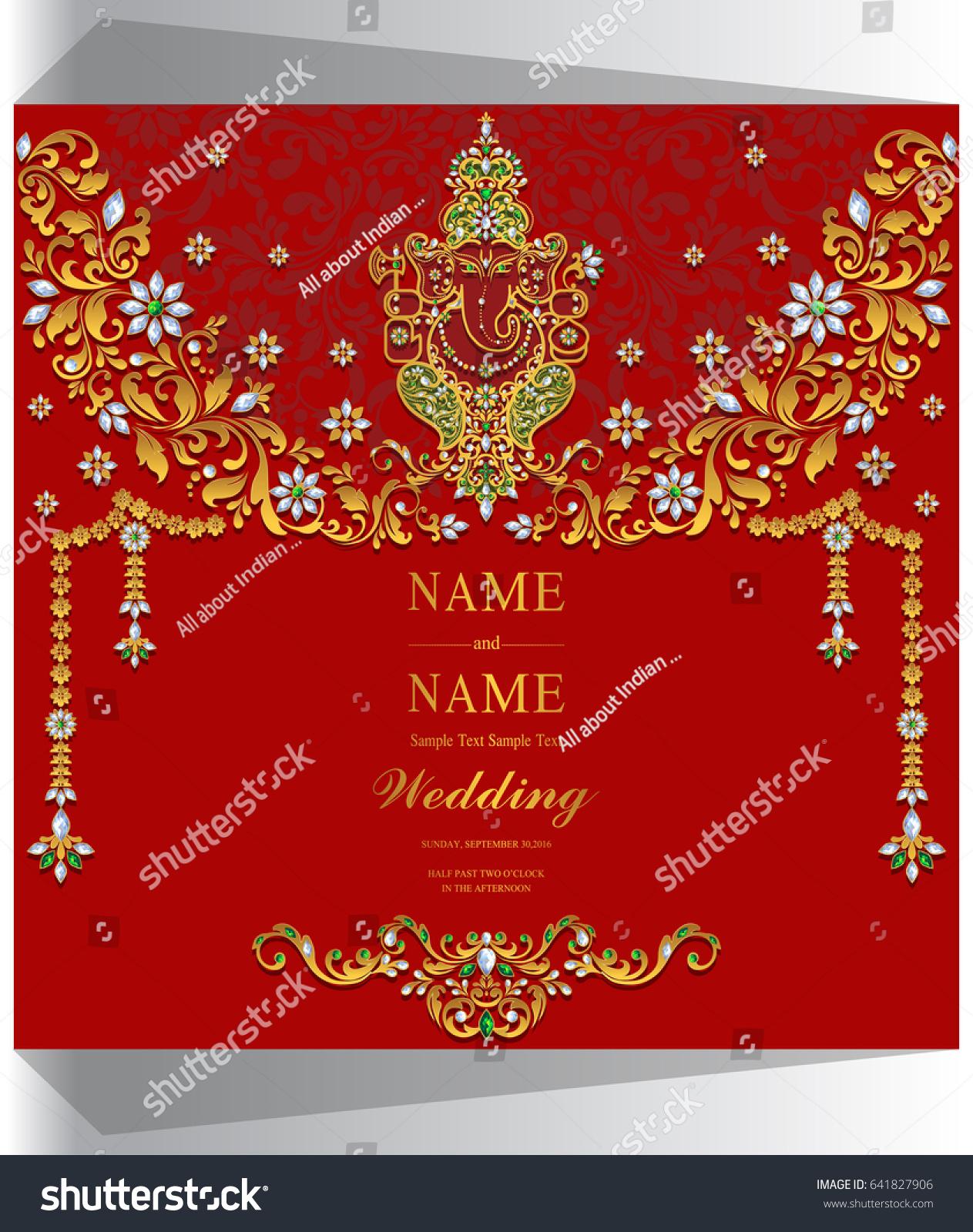 Wedding Invitation Card Templates Gold Ganesha Stock