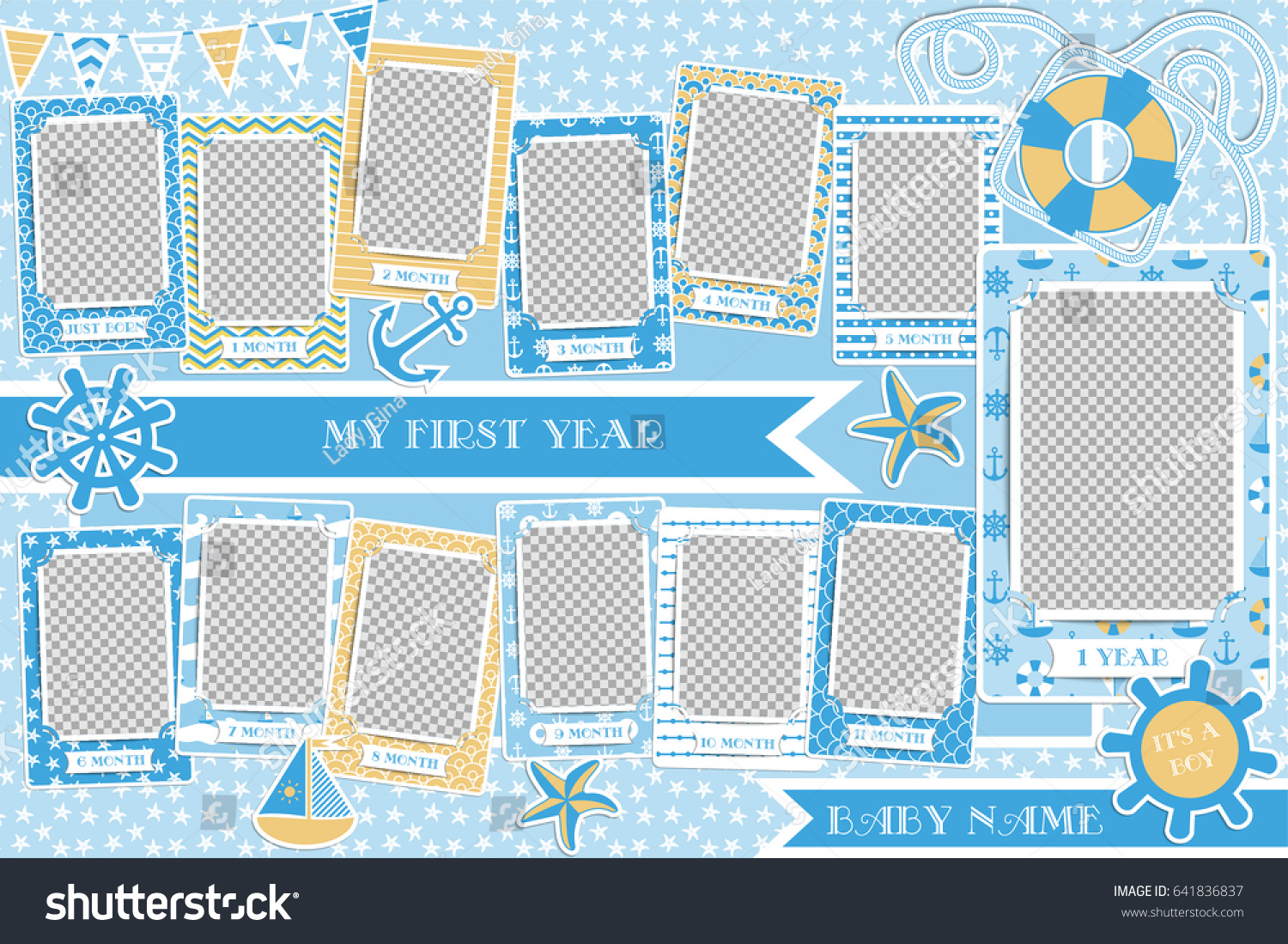 Frames Baby My First Year Life Stock Vector Royalty Free 641836837
