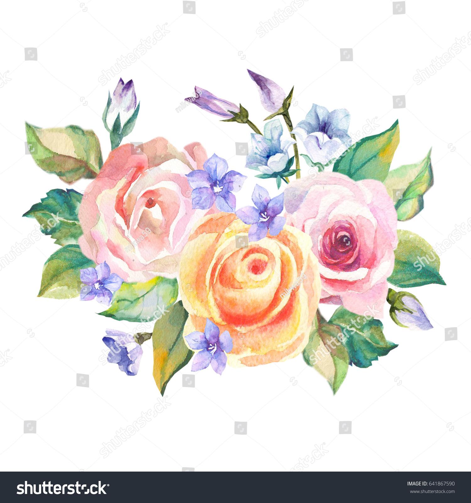 Cute bouquet roses blue flowers stock illustration 641867590 cute bouquet of roses and blue flowers izmirmasajfo
