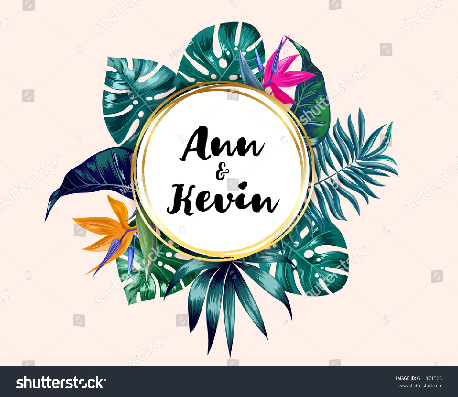 Vector tropical palm leaves flower invitation stock vector royalty vector tropical palm leaves and flower invitation jungle round design template for weddind or party stopboris Choice Image