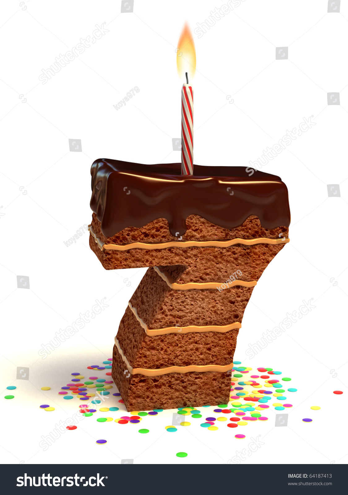Number Seven Shaped Chocolate Birthday Cake With Lit