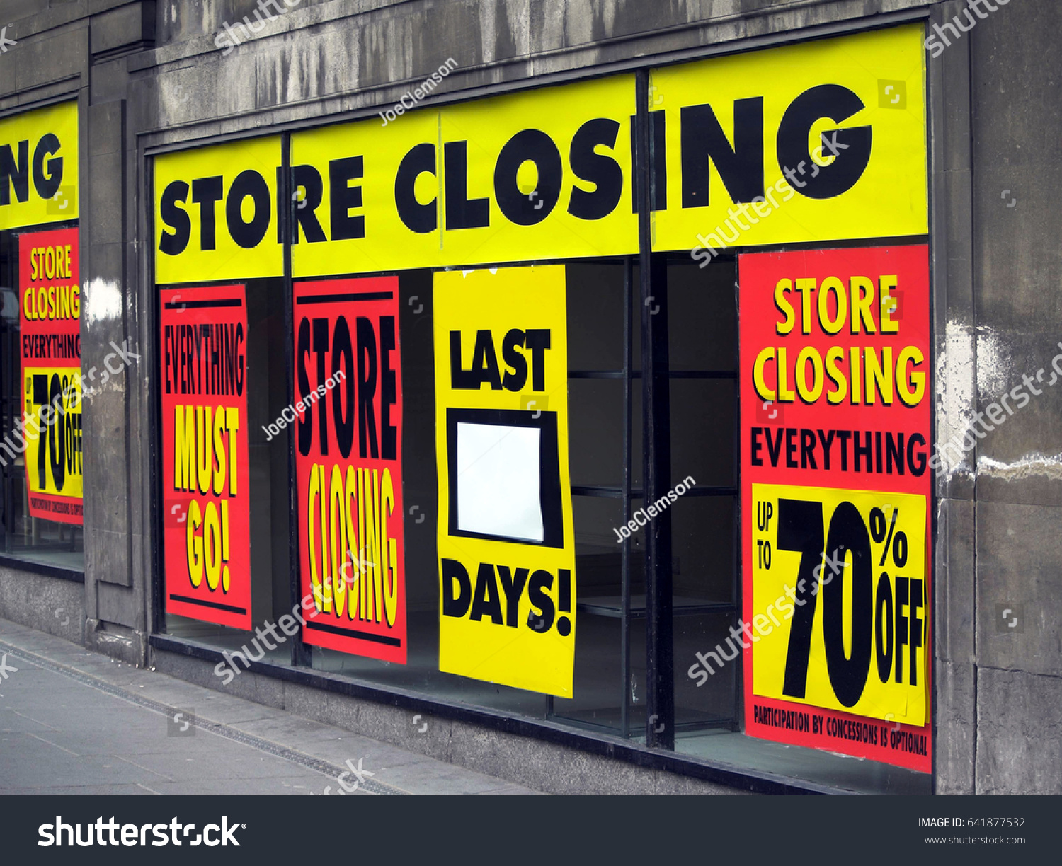 Large Printed Signs Department Store Window Stock Photo Edit Now