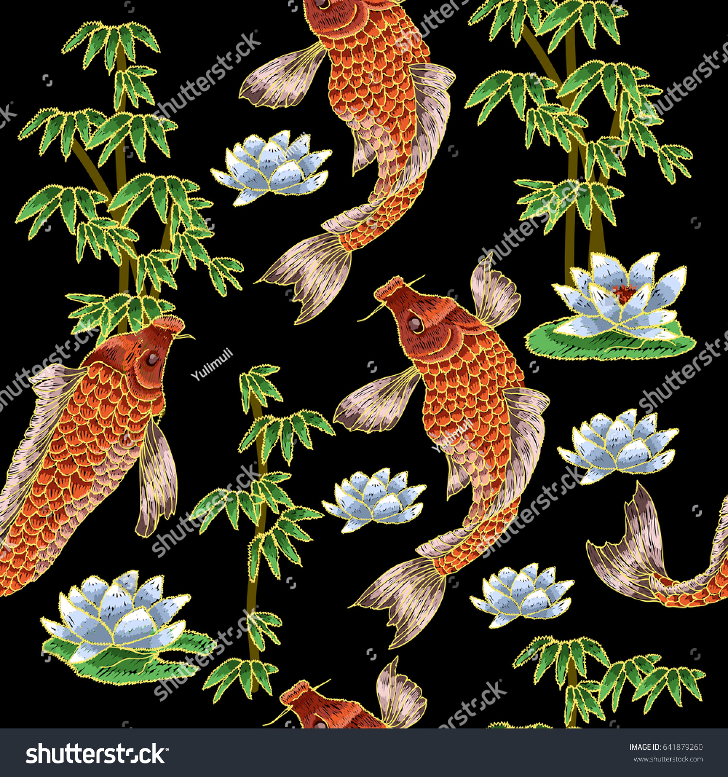 Embroidery pattern with traditional japanese carp and flowers