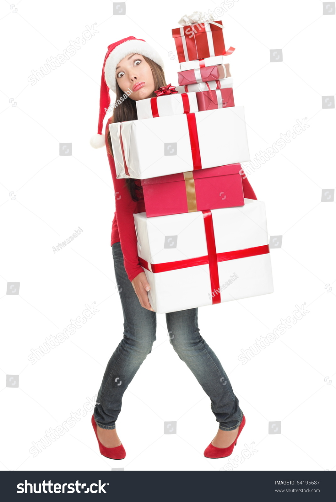 Christmas Shopping Woman Stressed Funny Expression Stock
