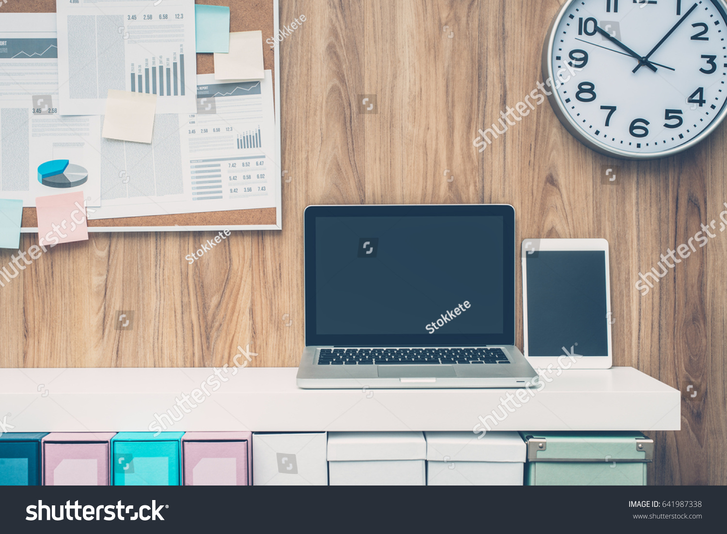 office pinboard. Laptop And Folders On A Shelf In The Office, Pinboard Background, Business Office F