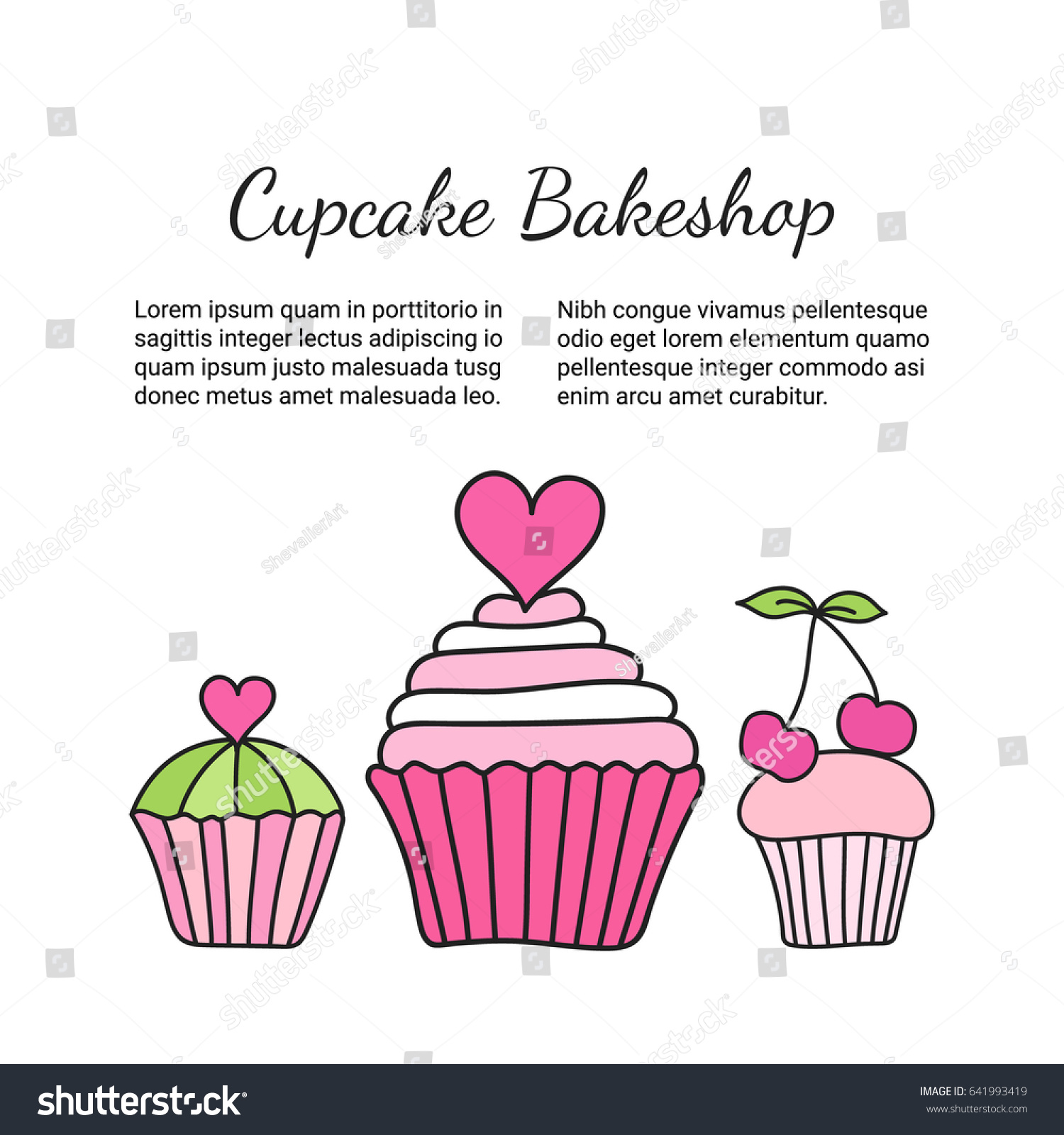 Cupcake Brochure Colored Decorative Card Template Stock Vector