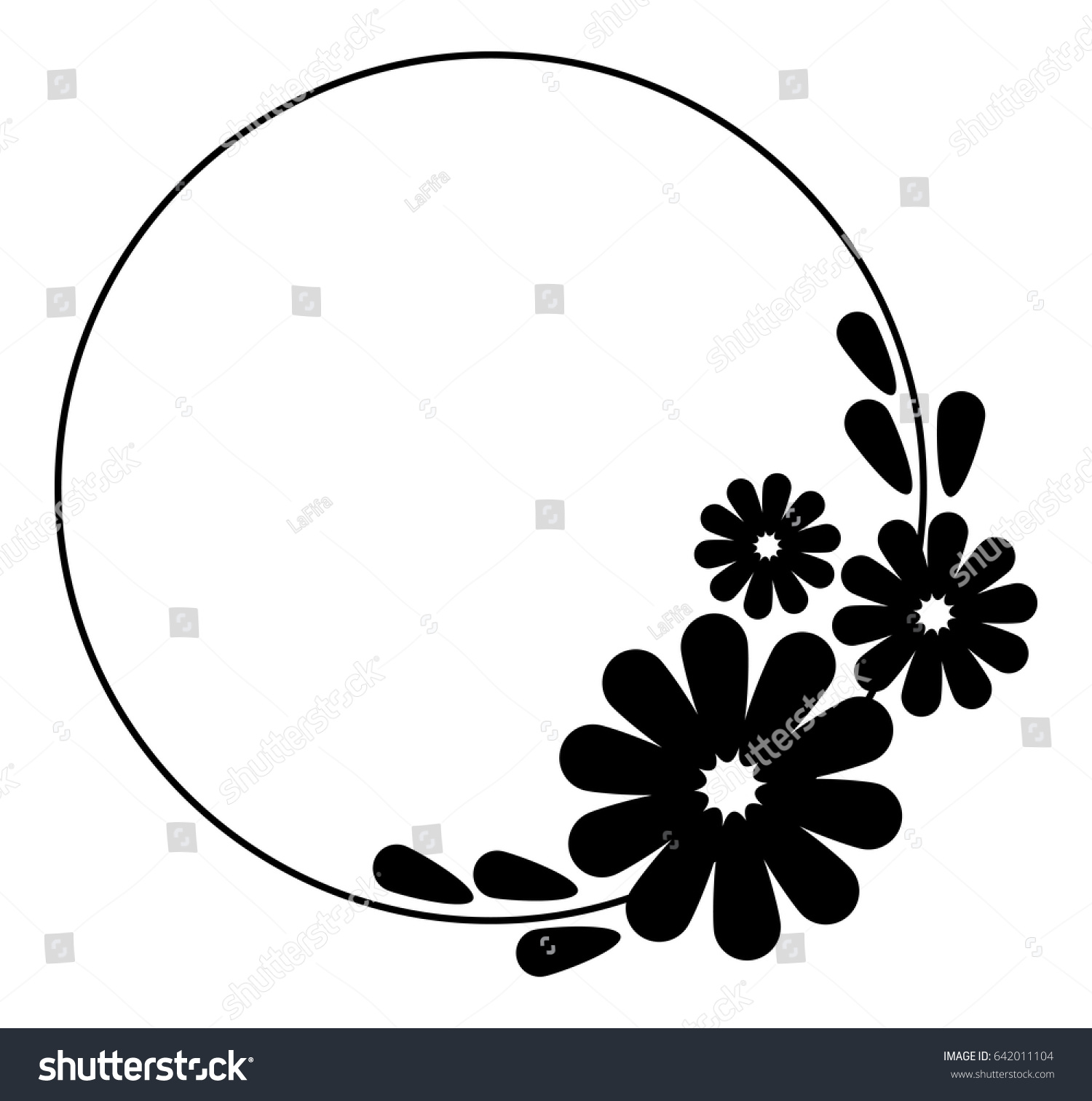 Round frame with decorative branch vector illustration stock - Black And White Silhouette Round Frame With Decorative Flowers Vector Clip Art