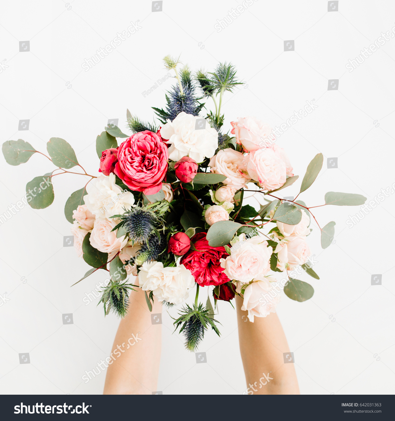 Girls Hands Holding Beautiful Flowers Bouquet Stock Photo (Edit Now ...