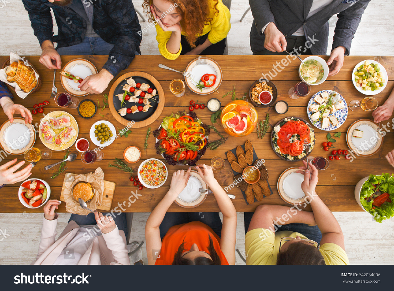 Dinner table top view - Friends Dinner Table Top View People Eat Healthy Food Together Home Party