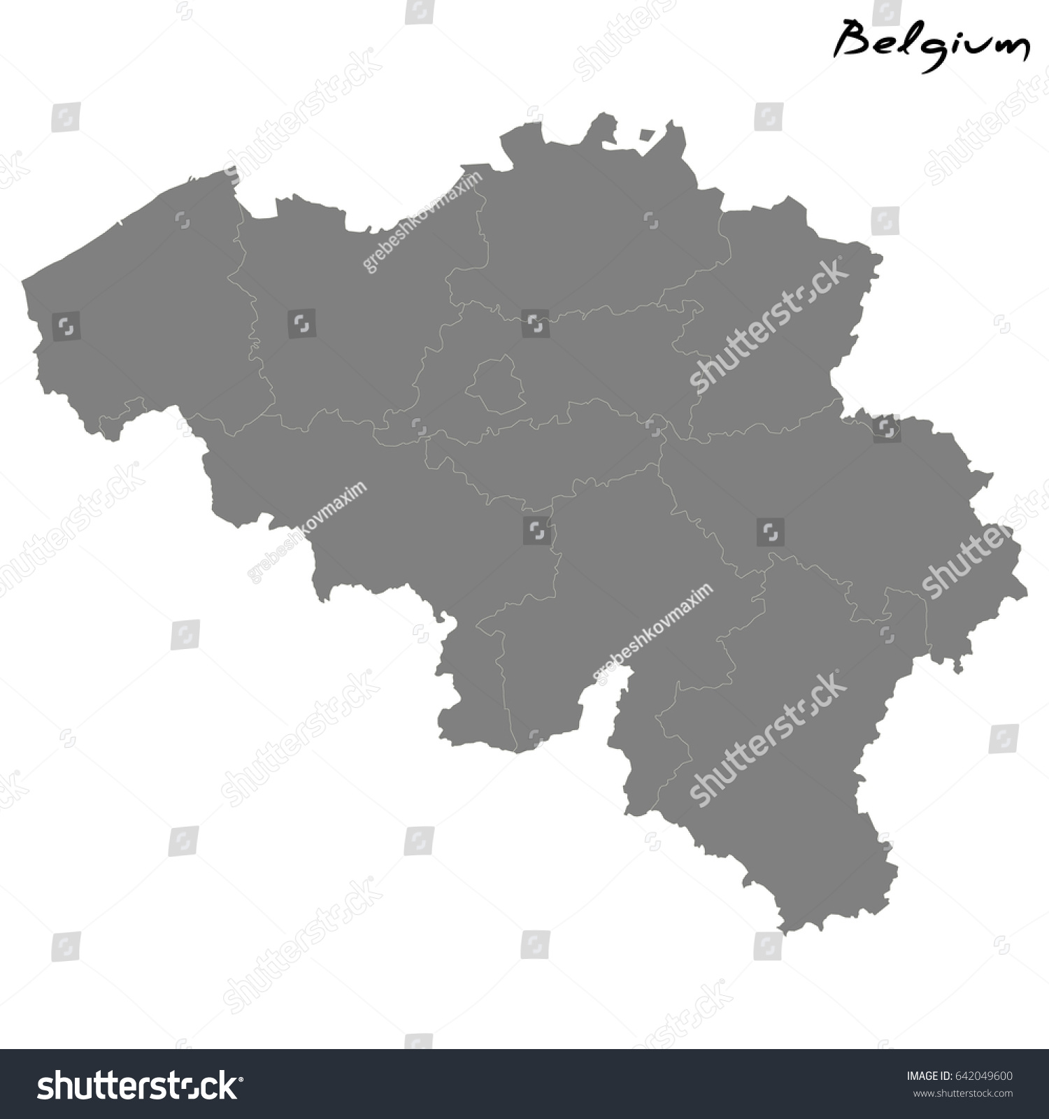 high quality map of belgium with borders of the regions