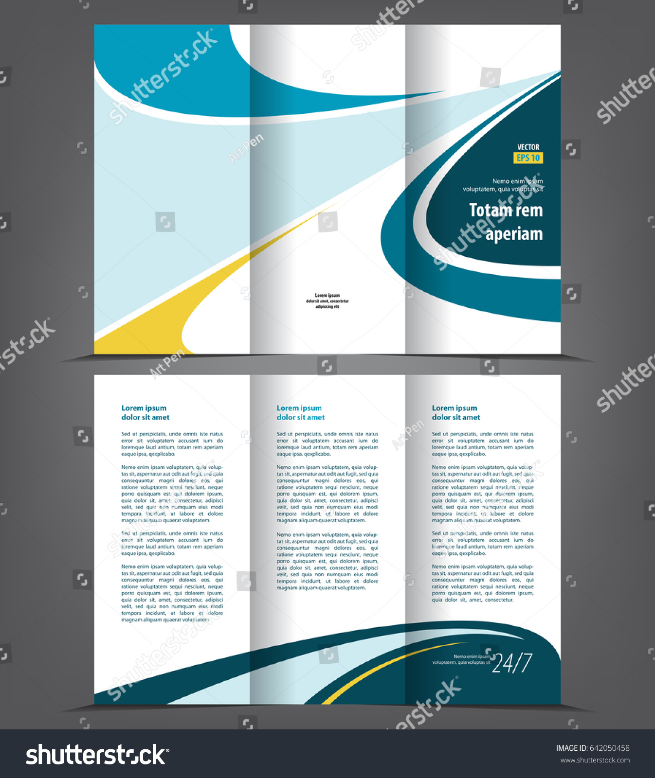 Vector tri fold brochure template design stock vector for Folded brochure template
