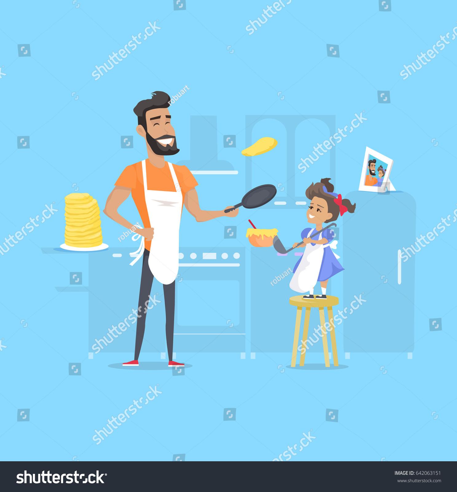 Hilarious Father Daughter Preparing Pancakes Kitchen Stock Vector ...