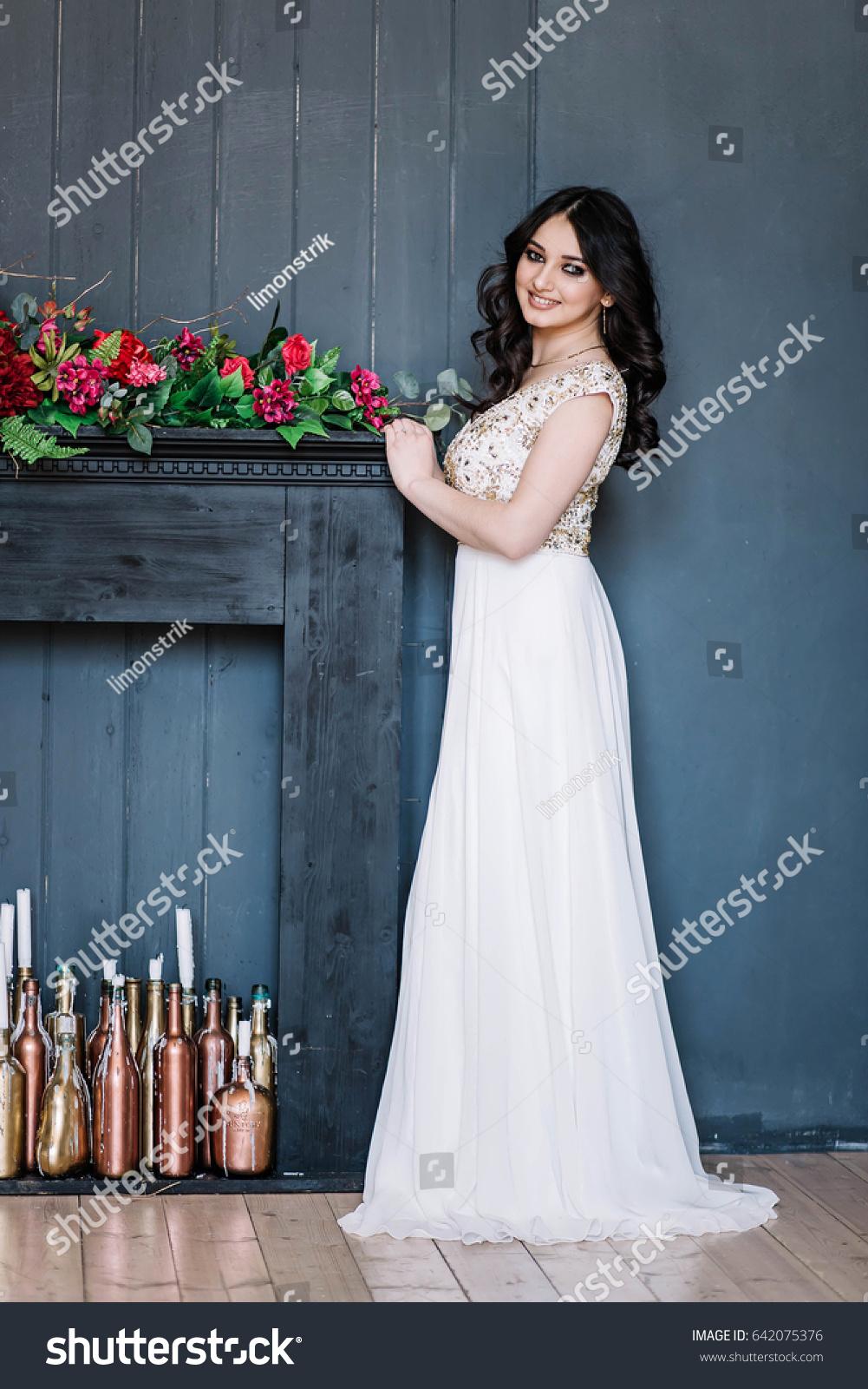 Beautiful Brunette Girl White Wedding Dress Stock Photo (Royalty ...
