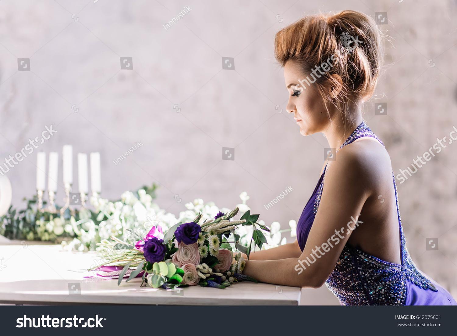 9d55856f093 Beautiful Girl Purple Lavender Dress Leaned Stock Photo (Edit Now ...