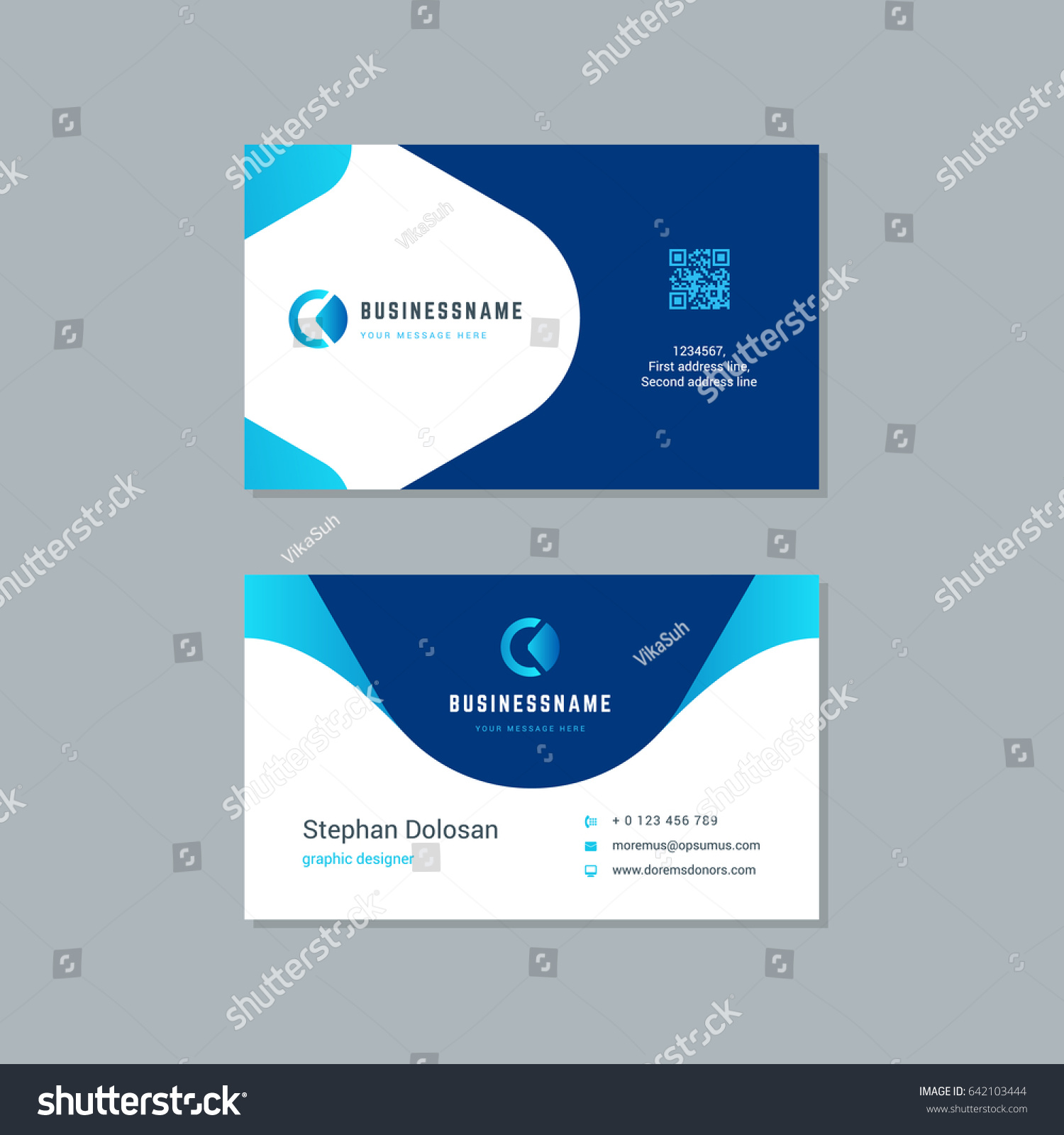 Business Card Design Trendy Blue Colors Stock Photo (Photo, Vector ...