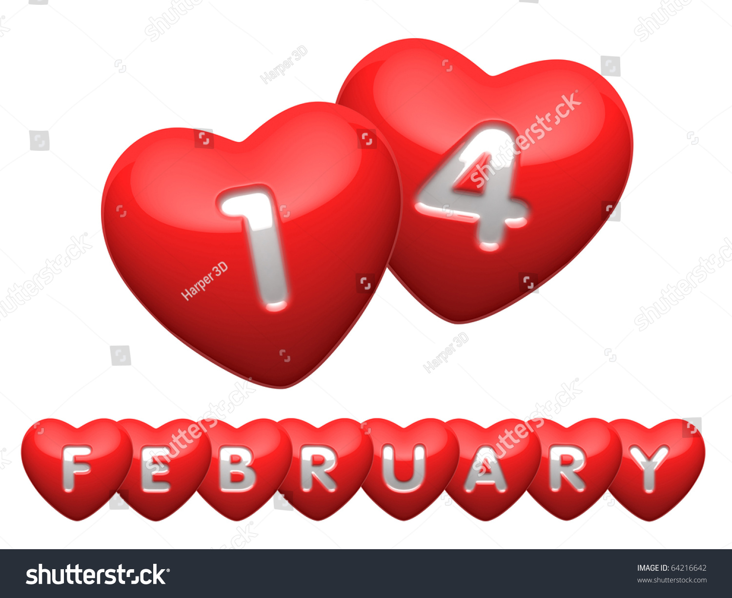 Words 14 February Hearts Letters Stock Illustration 64216642