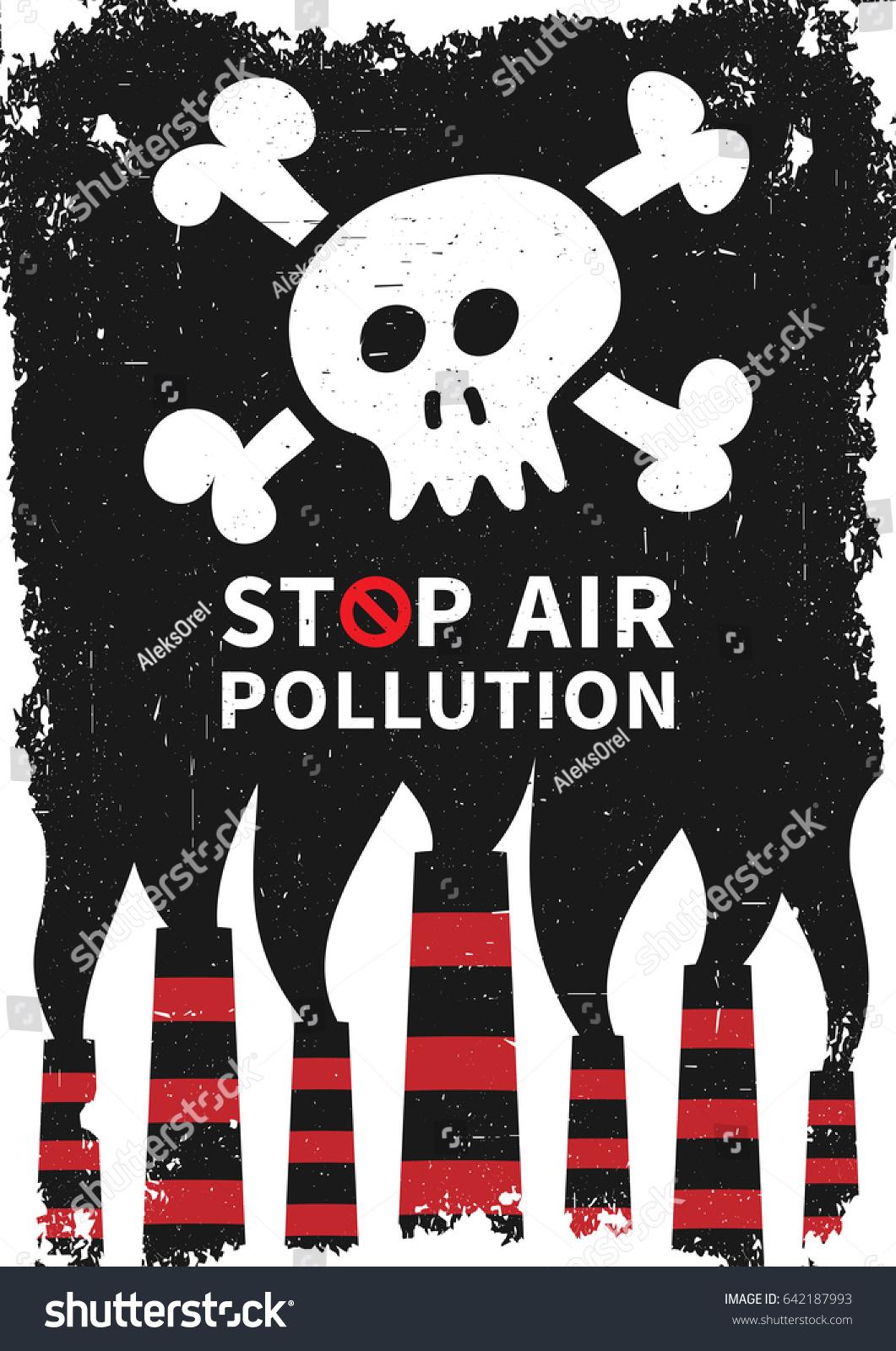 Air Pollution Skull : Stop air pollution skull vector illustration เวกเตอร์สต็อก