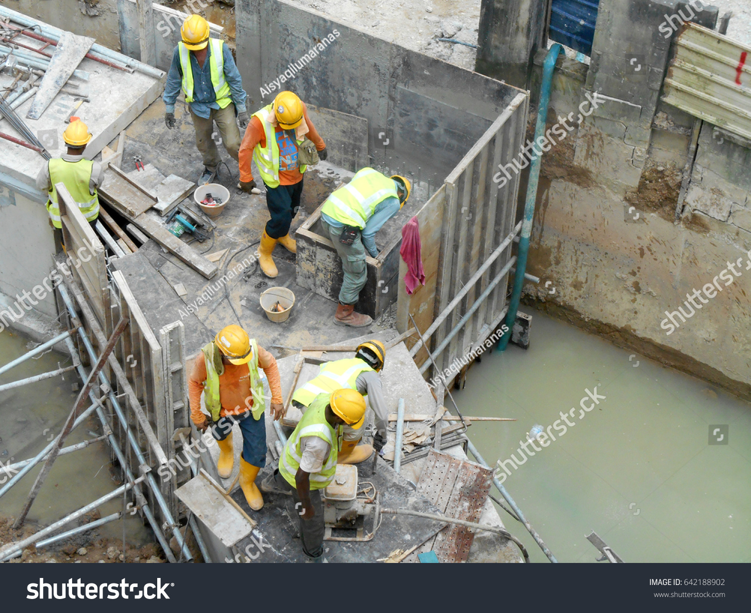 Drainage Work By Construction Workers Construction Stock