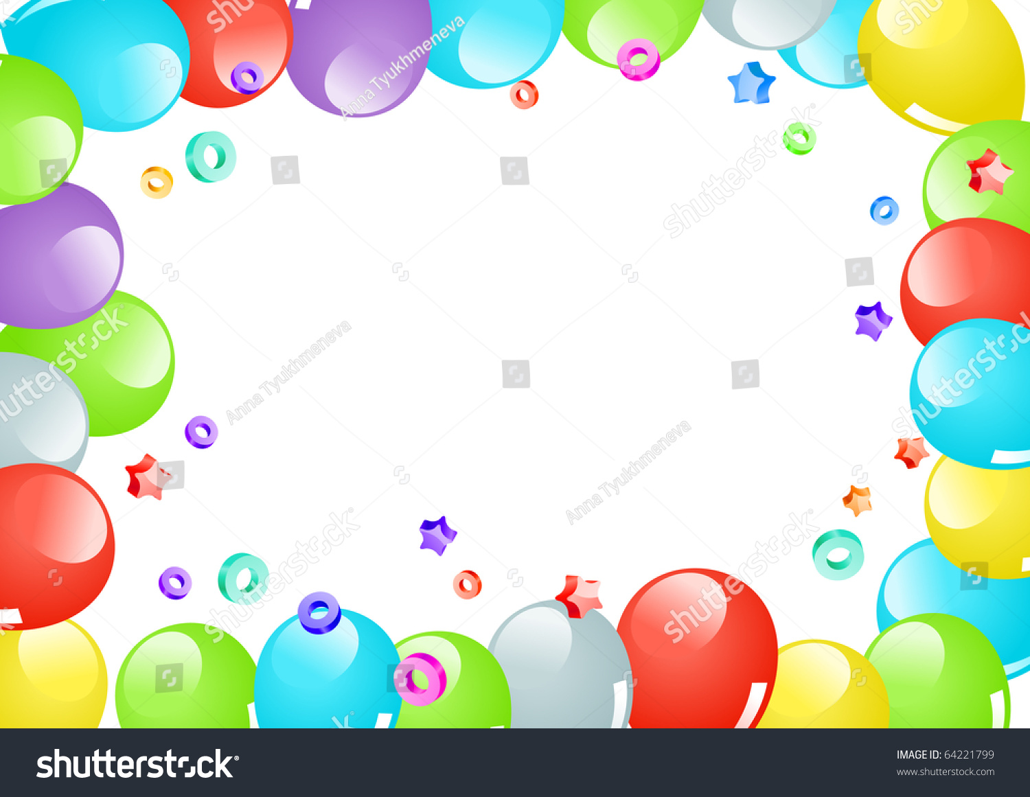 frame with color balloons