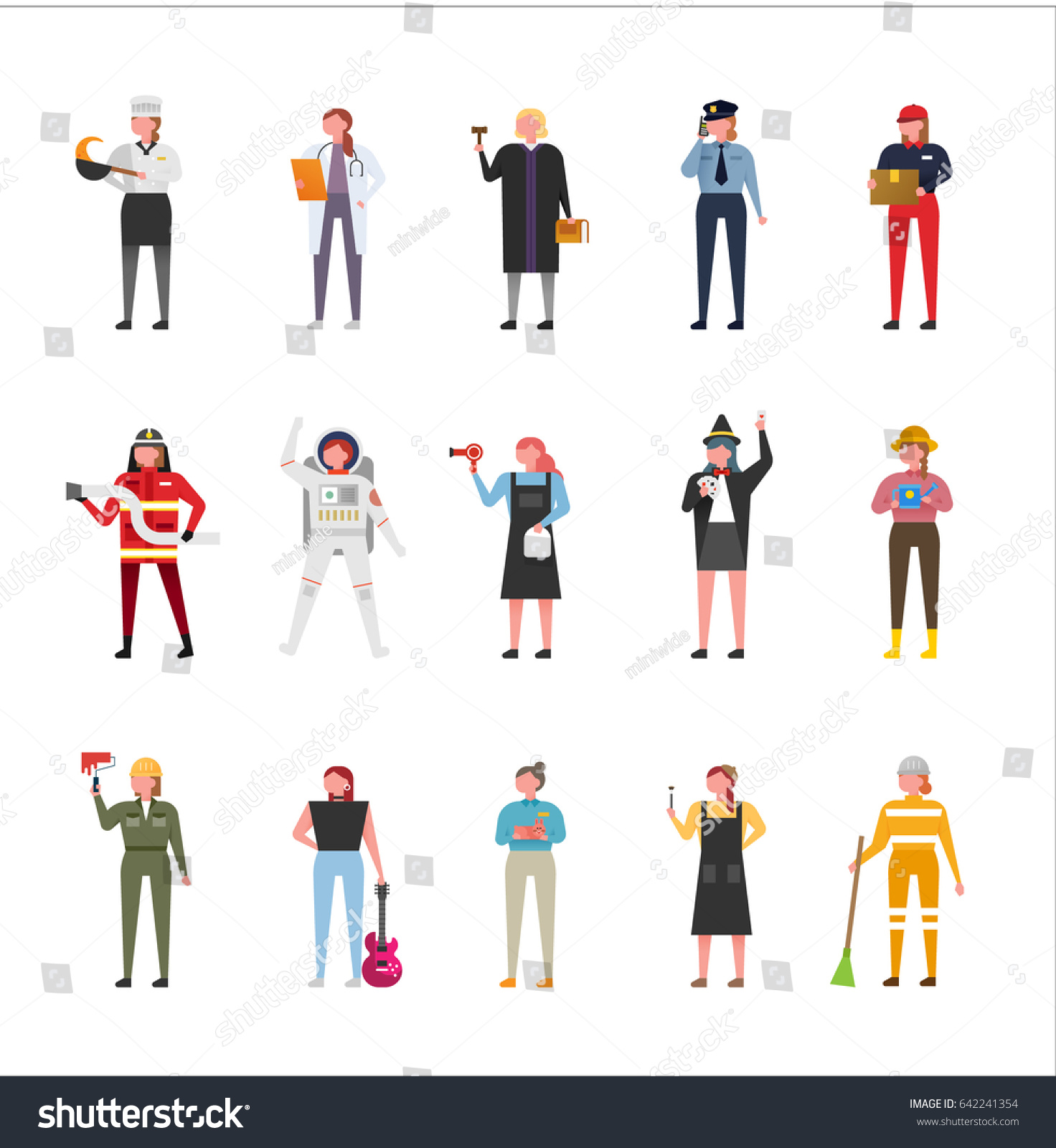 Character Design Job Offer : Job uniform man character set vector 스톡 벡터