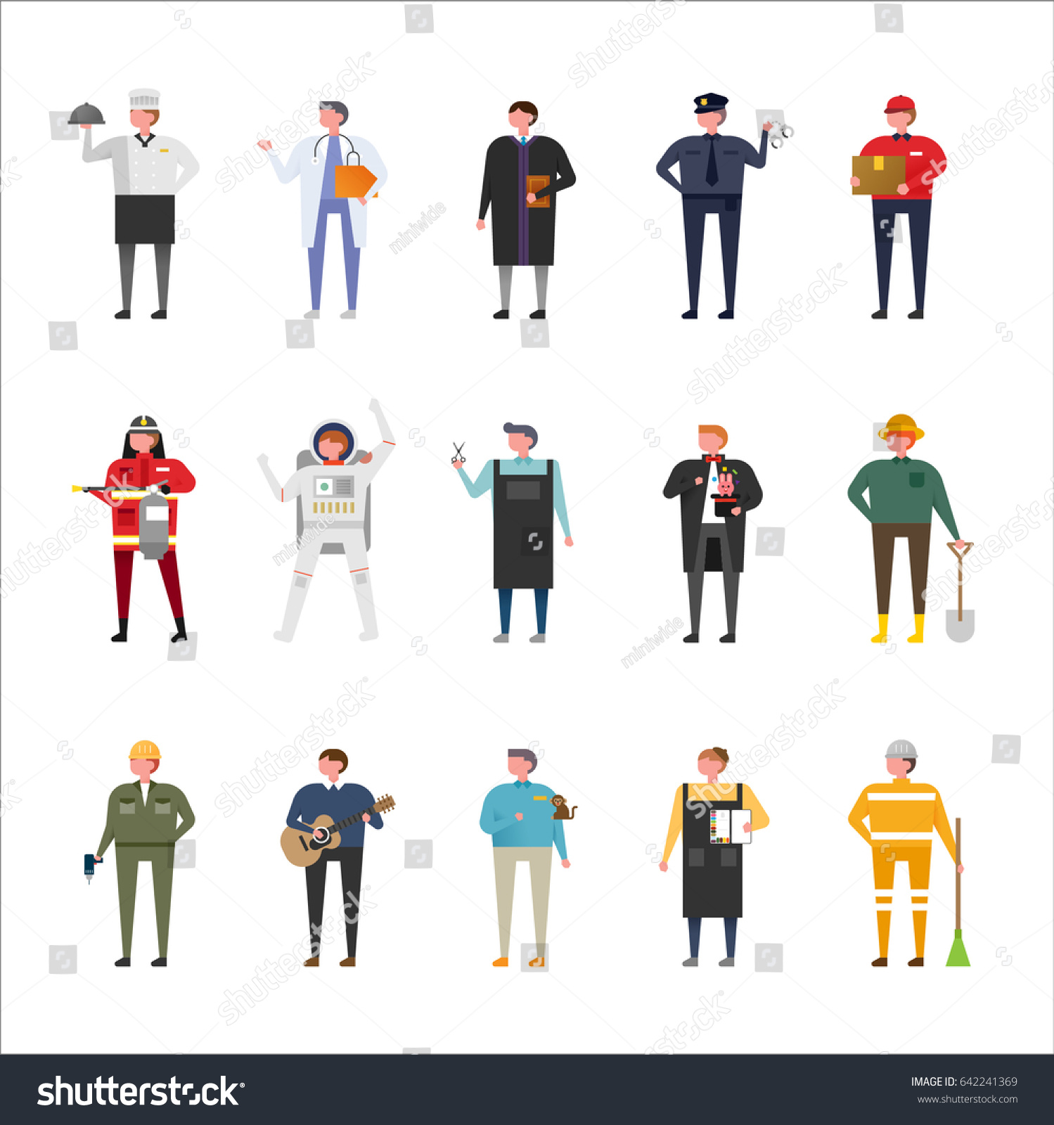 Character Design Careers : Job uniform woman character set vector stock
