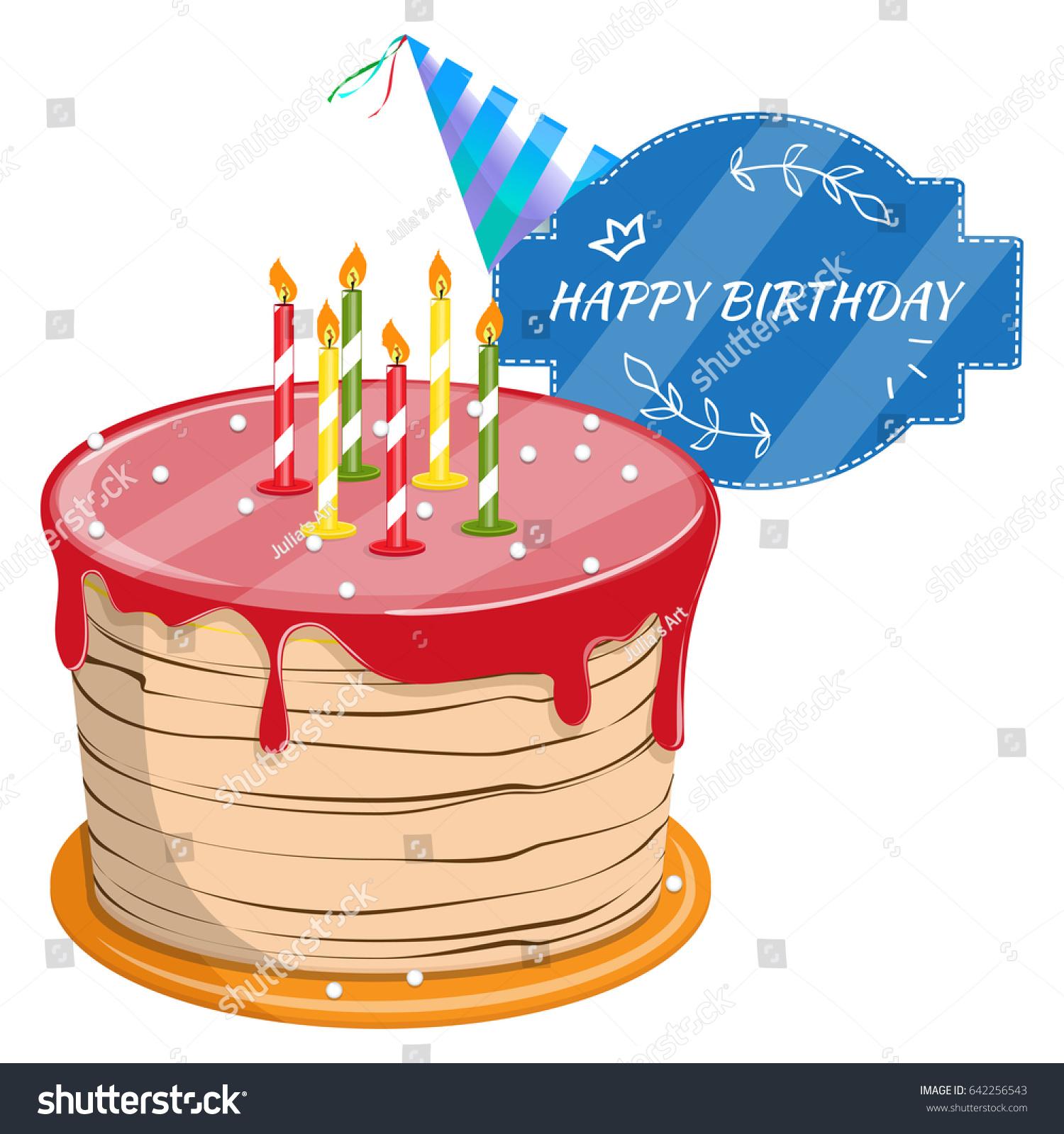 Cute Cartoon Happy Birthday Cake Candles Stock Vector Royalty Free