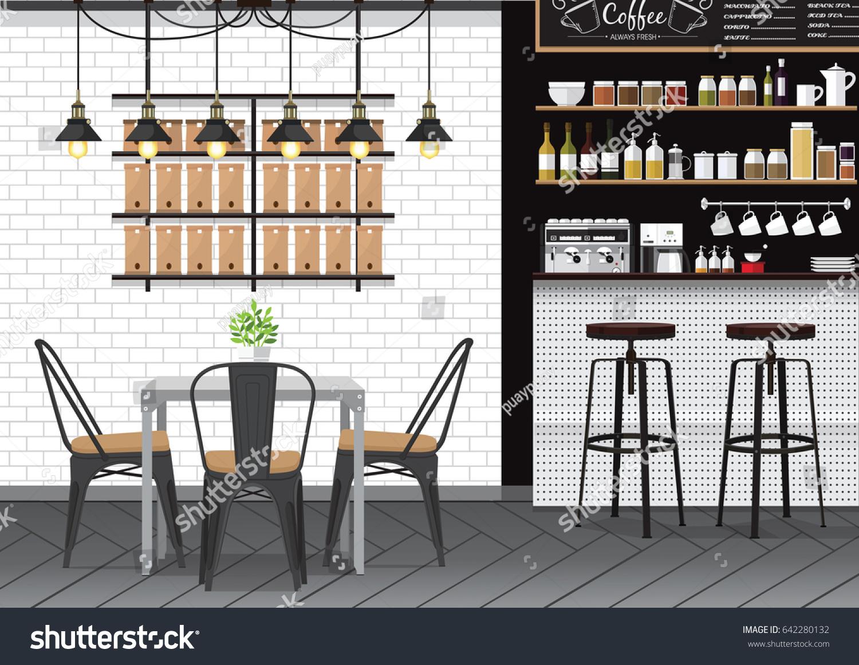 Modern Flat Design Kitchen Bar Interior Stock Vector 642280132 ...