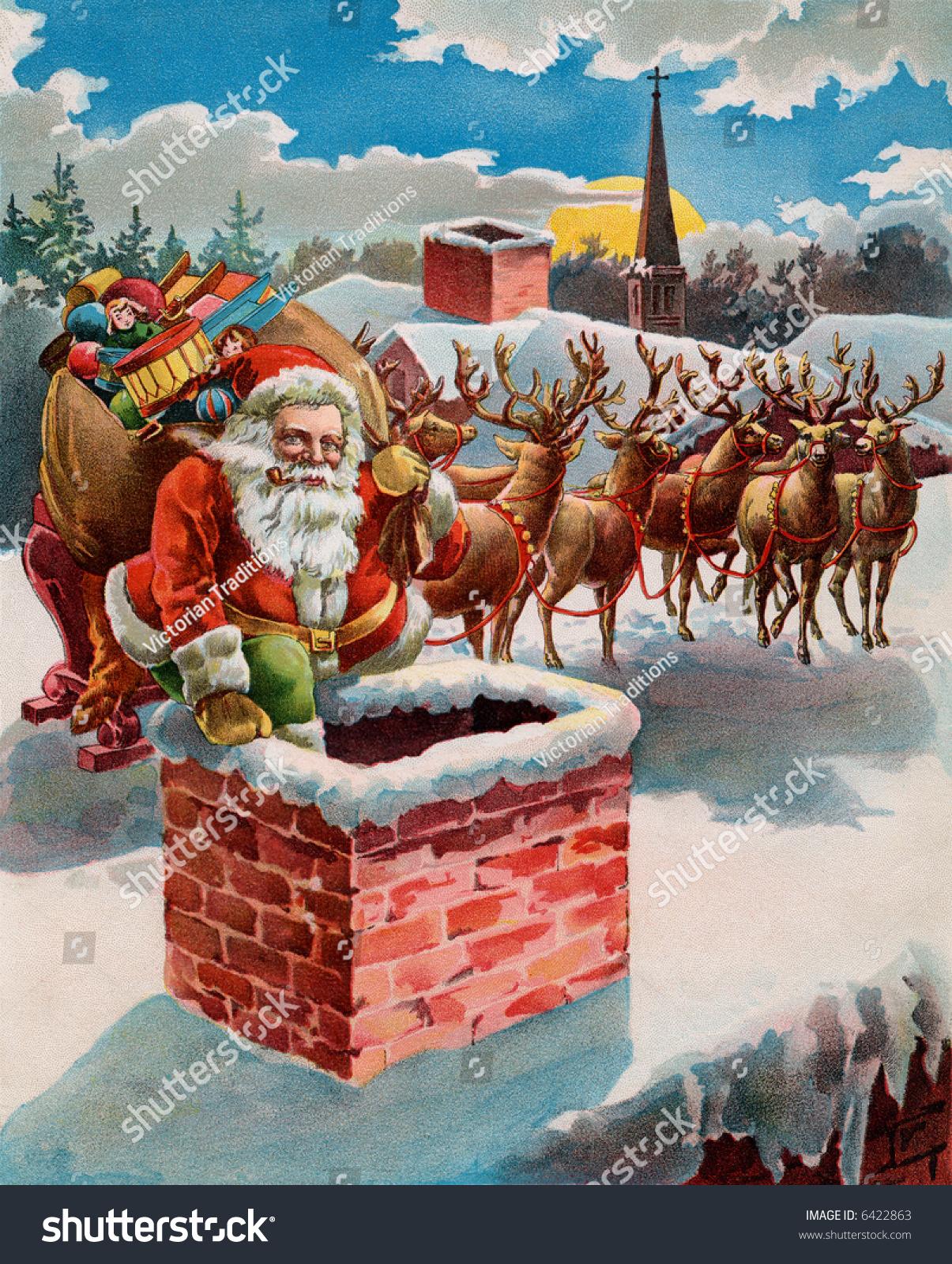Santa Reindeer Sleigh On Roof Top Stock Photo 6422863