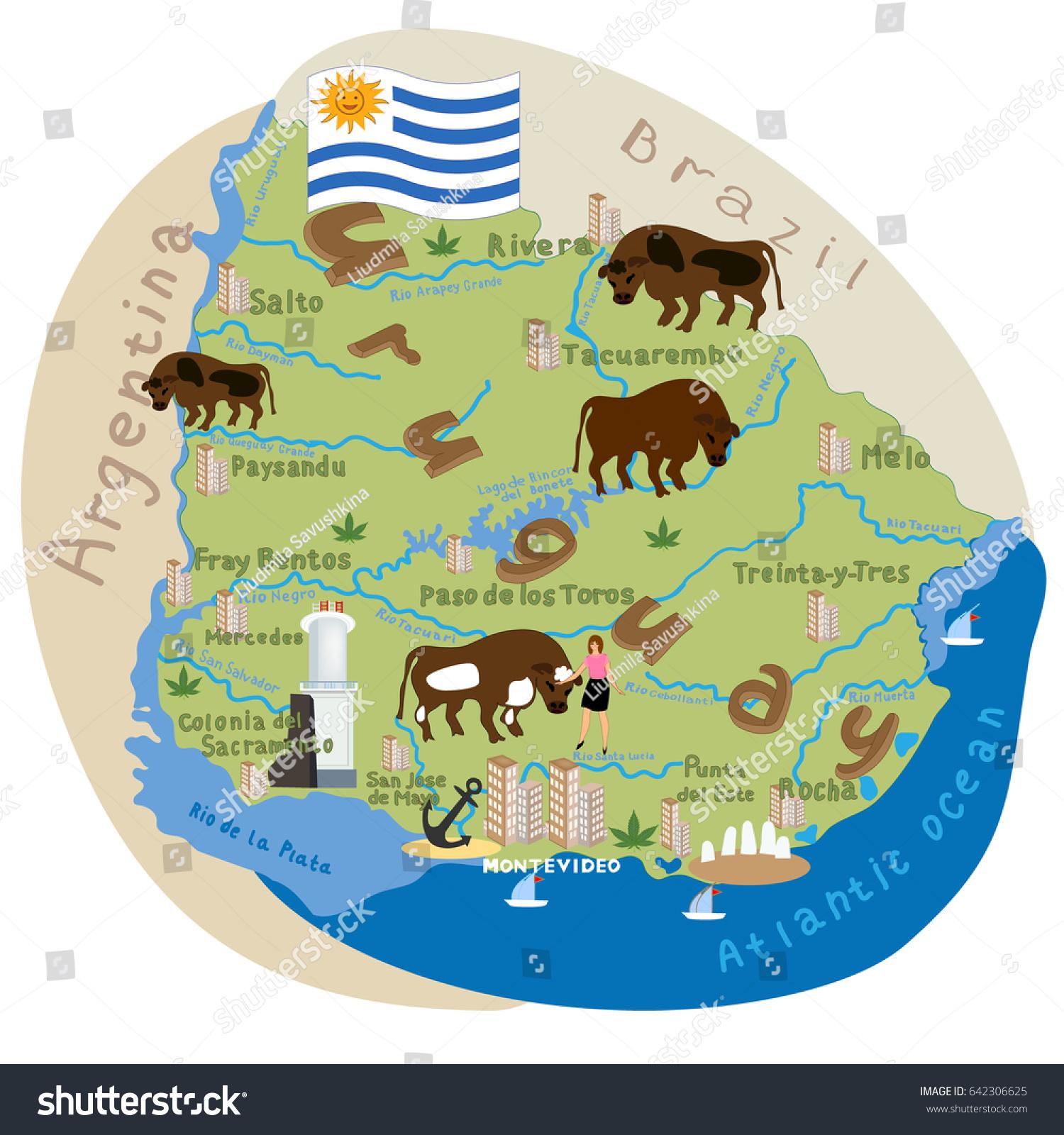 Uruguay Vector Cartoon Illustration Uruguay Map Stock Vector - Uruguay map