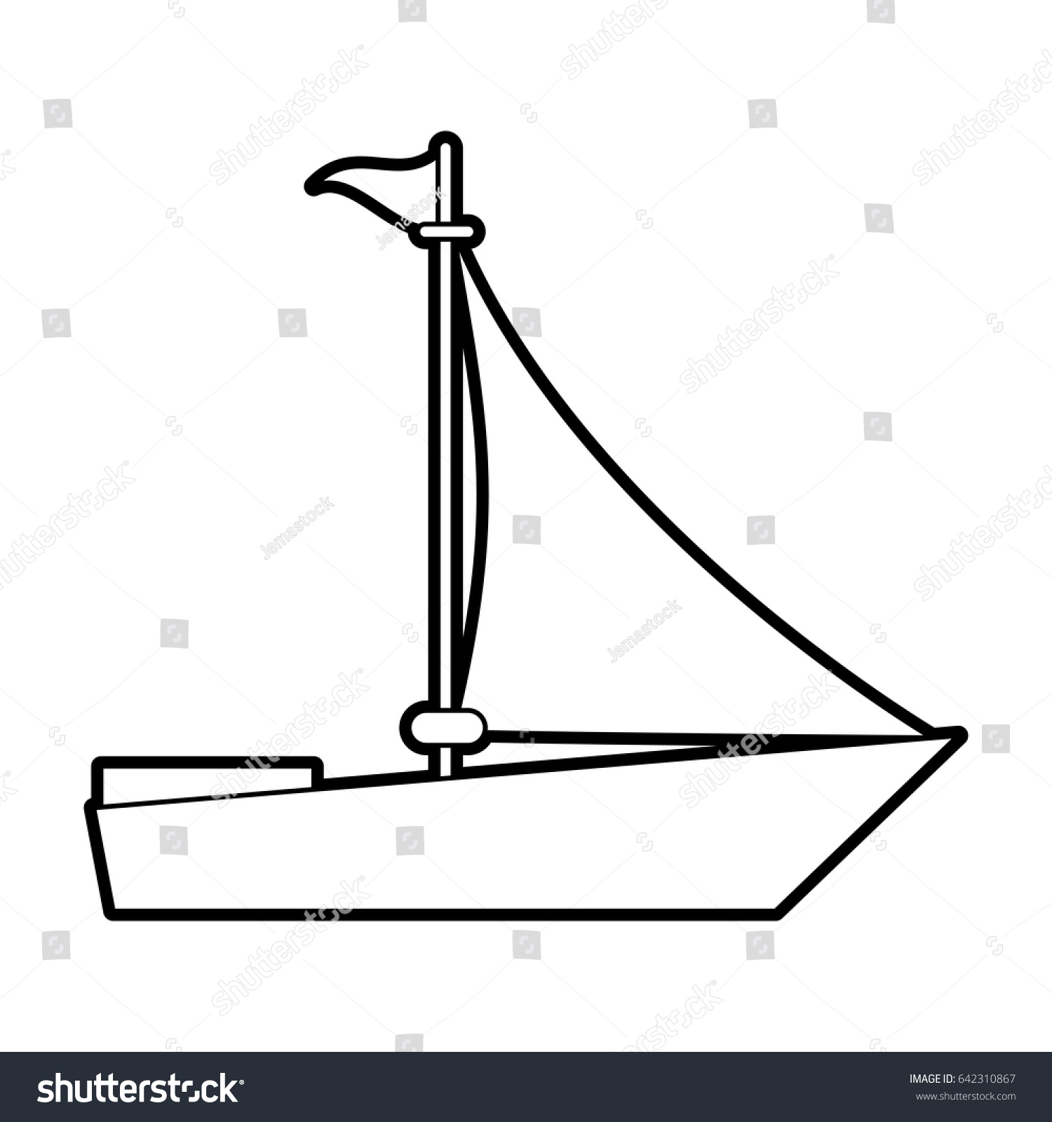 Sketch Silhouette Image Wooden Boat With Sail