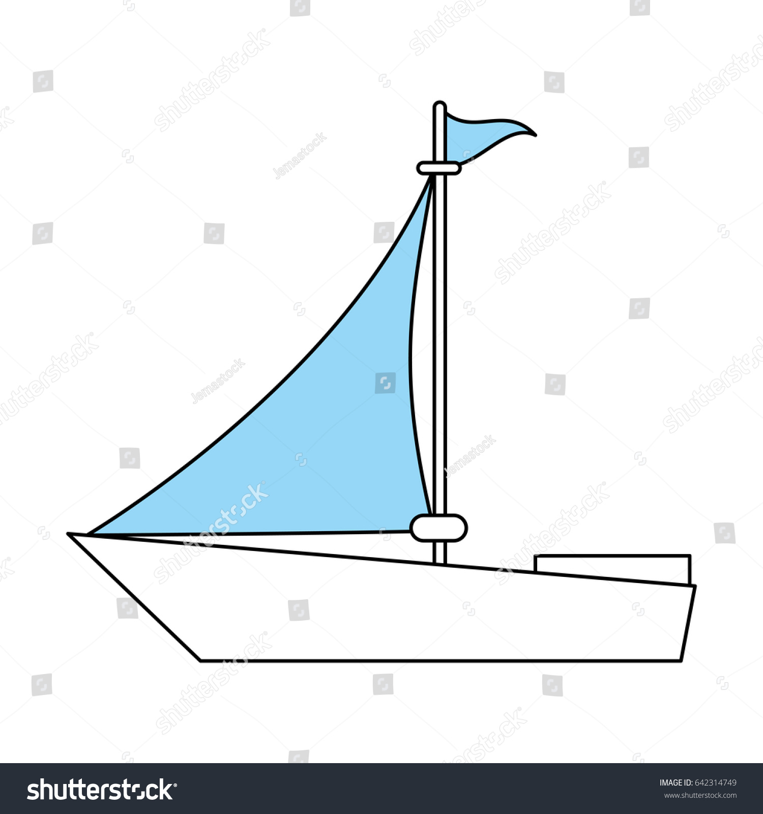 Color Silhouette Image Wooden Boat With Sail