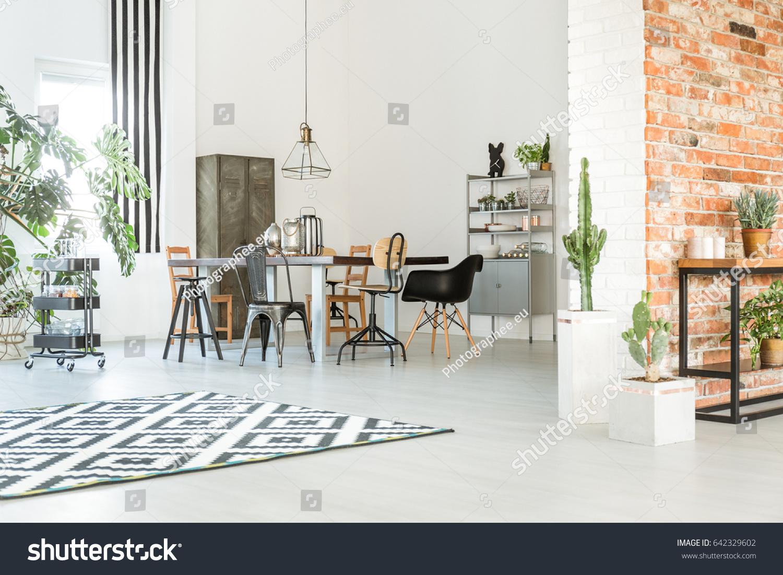 Cosy Light Dining Room Brick Wall Stock Photo & Image (Royalty-Free ...