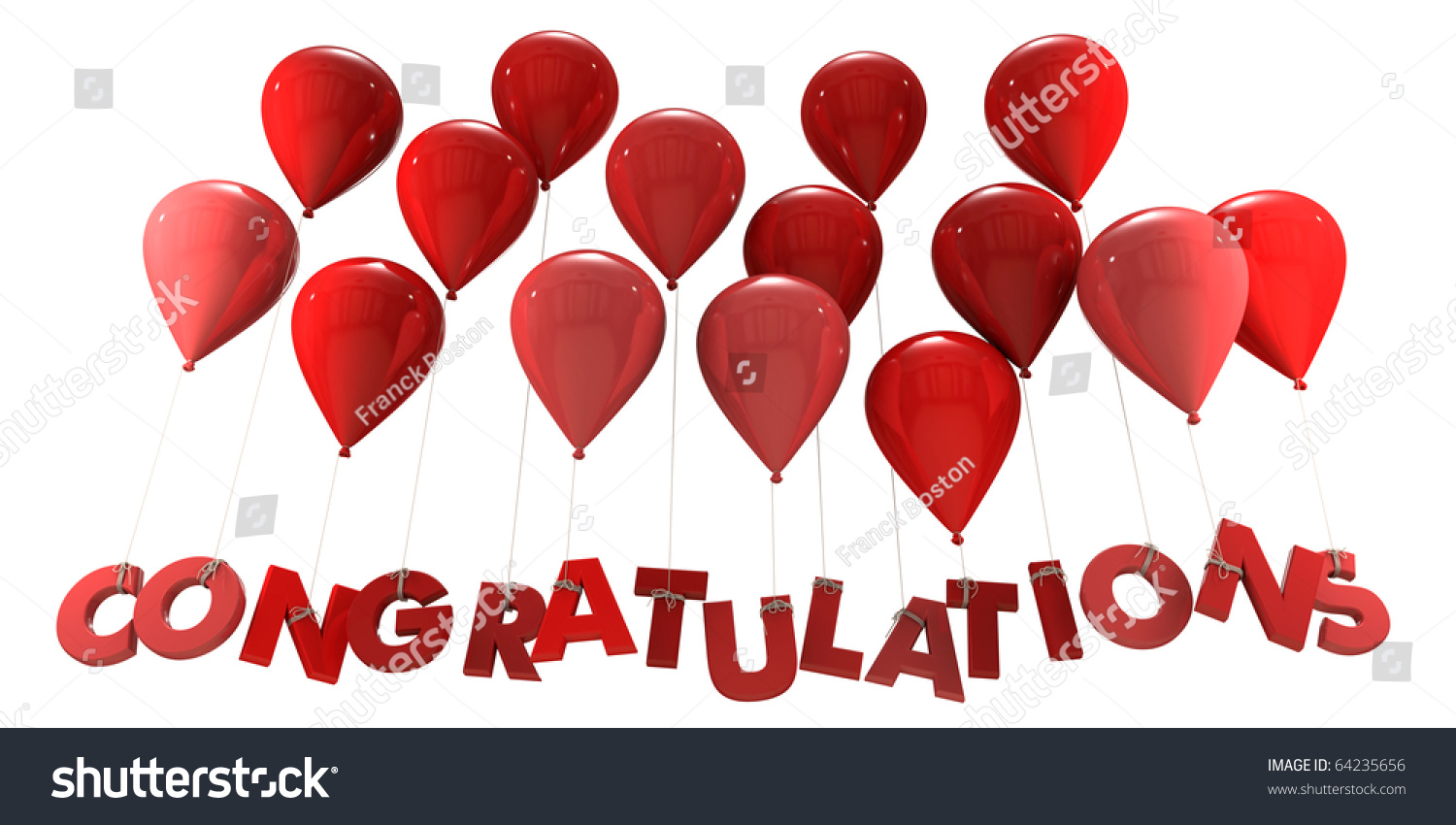 3 d rendering group balloons word congratulationsのイラスト素材
