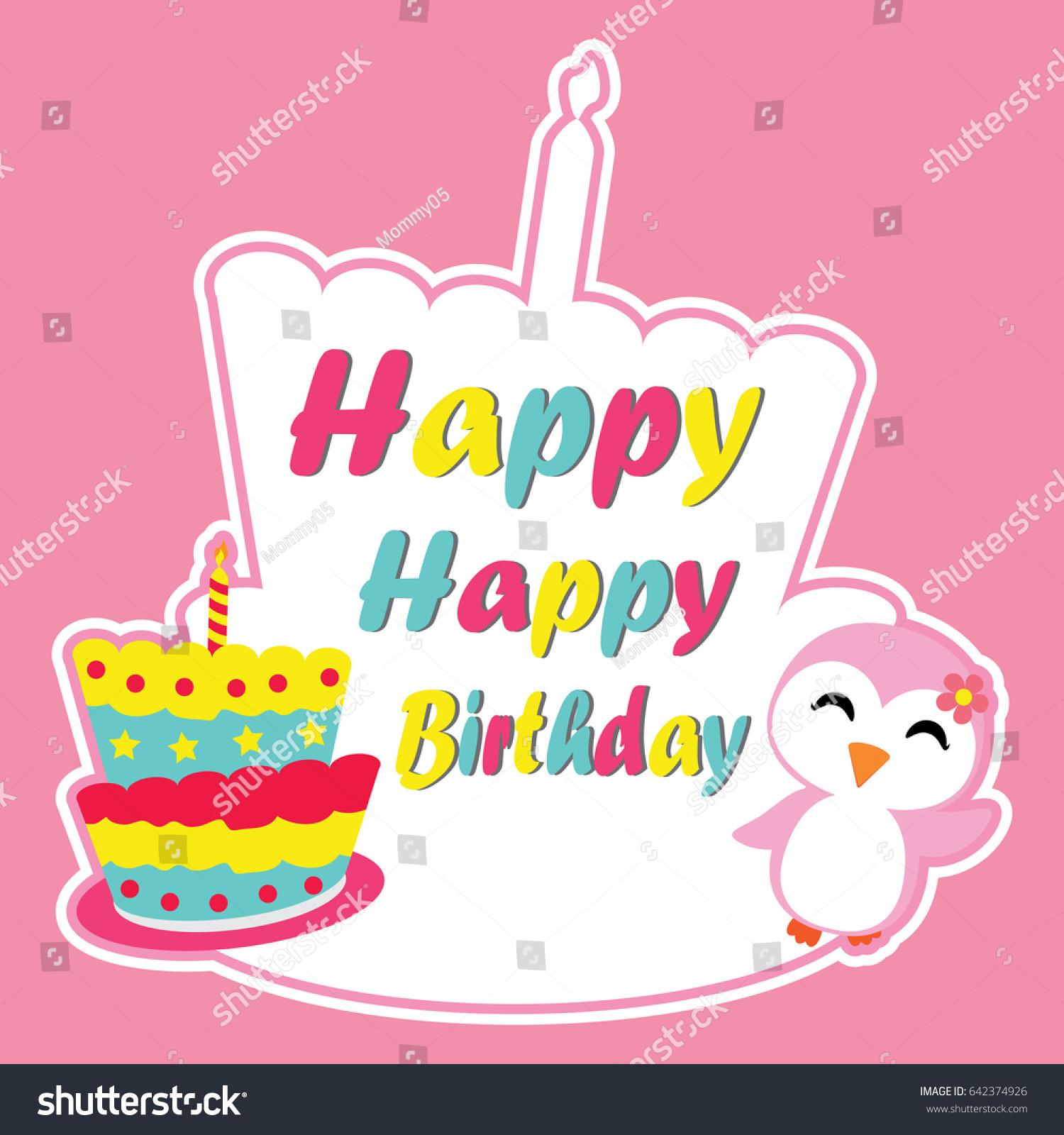 Cute Penguin Girl Happy Birthday Stock Vector