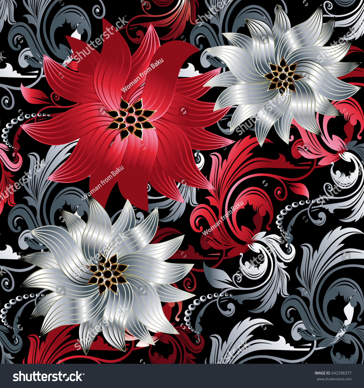 Floral Baroque Seamless Pattern Black Vector Stock Vector 642398377
